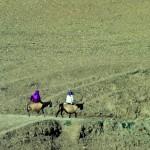 Zwei Reisende mit Eseln Marokko